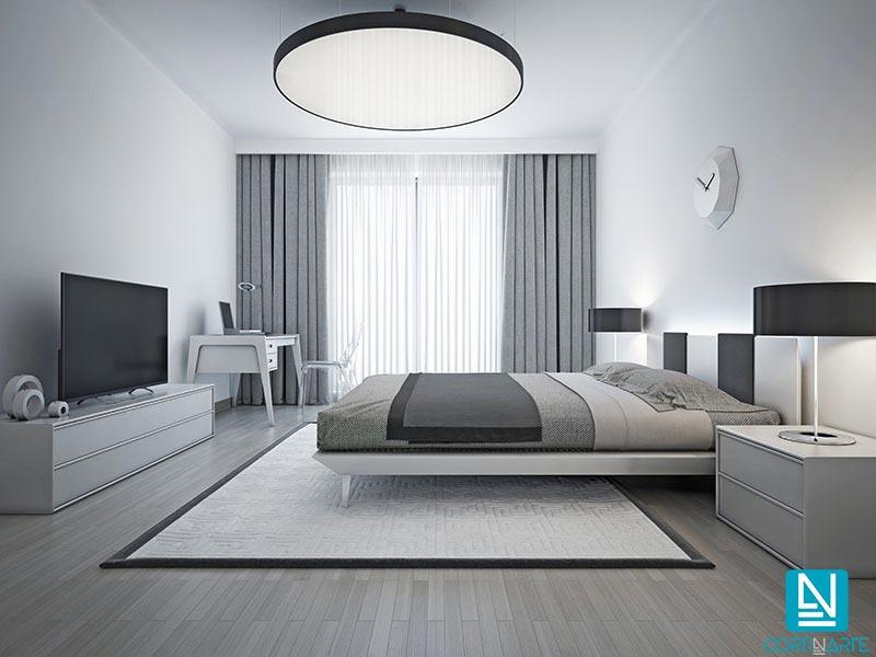 Hotel elegante cortinas ignífugas opacas calidad gris