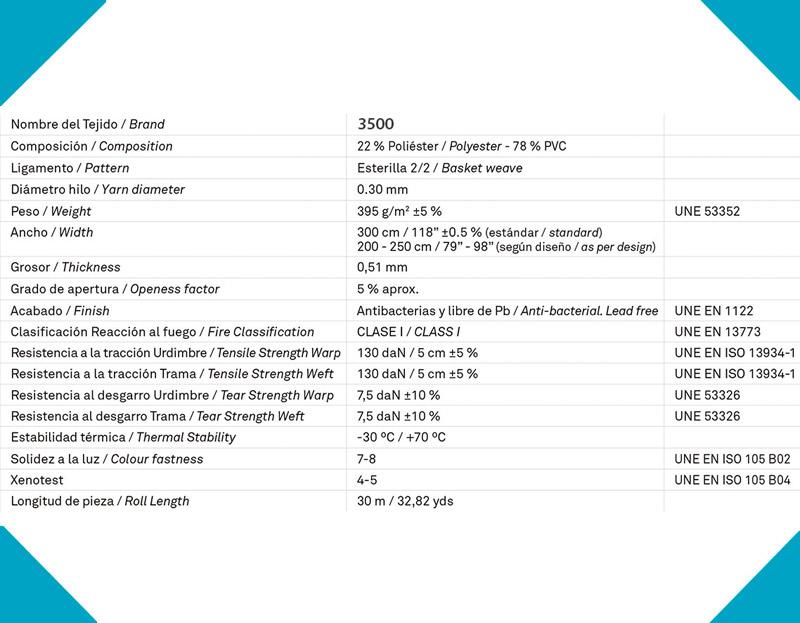 Características técnicas Vertical Screen 3500 ignífugo