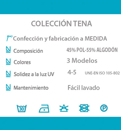 Cortina decorativa COCINA datos tecnicos TENA