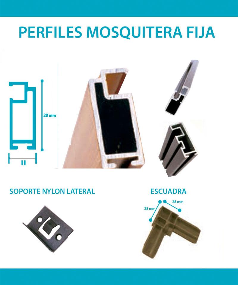Detalles perfiles y medidas mosquitera fija