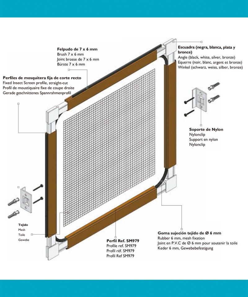 Fácil montaje e instalación mosquitera fija