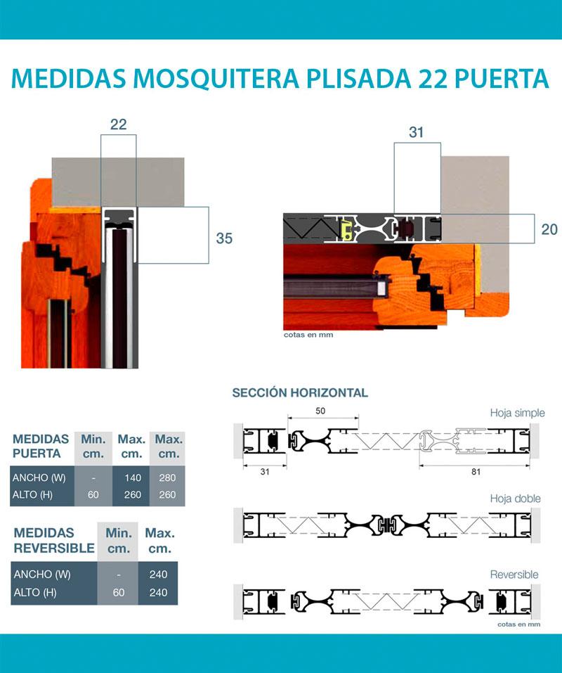 Medidas mosquitera plisada 22 puertas