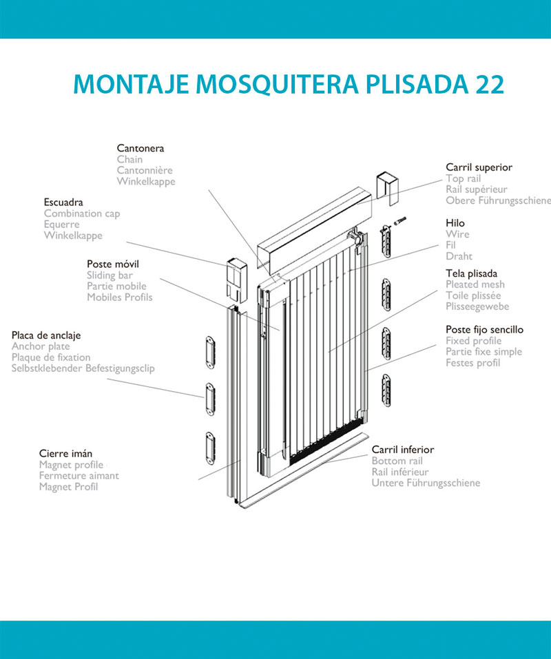 Fácil y rápido montaje mosquitera plisada 22
