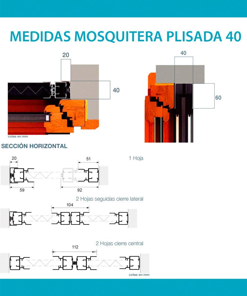 Medidas mosquitera plisada 40