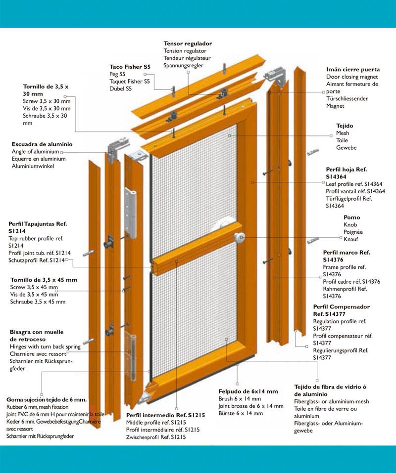 Montaje Mosquitera puerta abatible