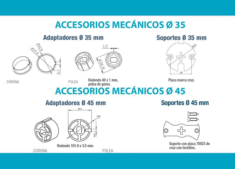 Accesorios y soportes motores tubulares