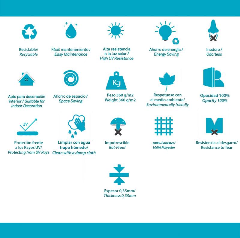 Características técnicas estor enrollable Opaco Neptuno