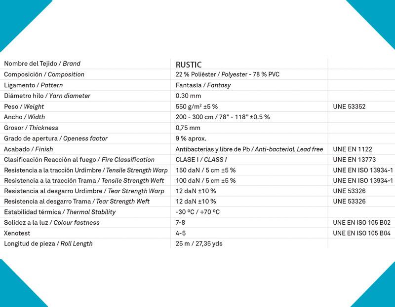 Datos técnicos panel japonés screen RUSTIC